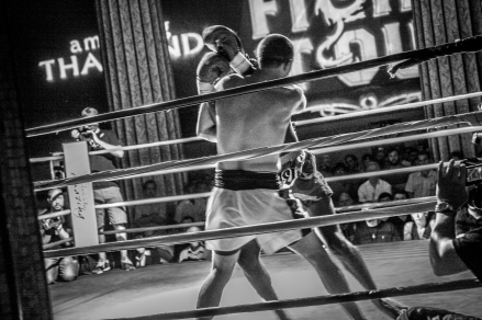 All tied up against the ropes. Muay Thai kickboxing at Church Street Ballroom NYC.